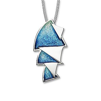Sterling Silver Scottish Sail Away Waterfall Enamel Hand Crafted Necklace Pendant - EP352