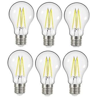 6 x Energizer 8W = 75W LED filamento GLS bombilla lámpara Vintage ES E27 clara tornillo de Edison [clase energética A +]