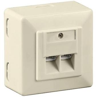 Goobay Network outlet Surface-mount CAT 6 2 ports Beige
