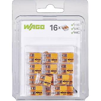 WAGO 221-412/996-016 connectorklem flexibele: 0.14-4 mm² rigide: 0,2-4 mm² aantal pins: 2 16 PC('s) transparant, oranje