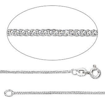 GEMSHINE 585 colar de ouro branco 1,4 mm cadeia de tanques em comprimentos de 40 a 61cm