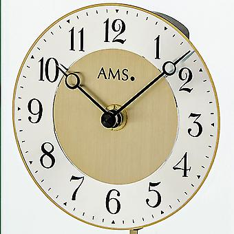 AMS 1143 table clock quartz with pendulum golden metal brass colours with glass