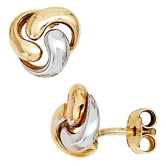 Earrings 333 gold yellow gold part rhodium-plated earring gold Bouton