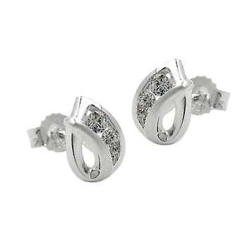 Petite studs plug Silver 3 cubic zirconia partially frosted earrings 925 Silver