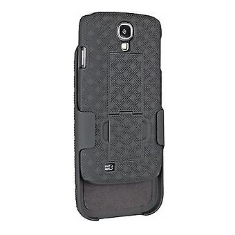 Unlimited Cellular Rubberized Shell Holster Combo avec Kickstand pour Samsung Galaxy S4 (Noir)