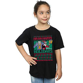 DC Comics девочек Джокер и Харли Квинн ха ха счастливых праздников футболку