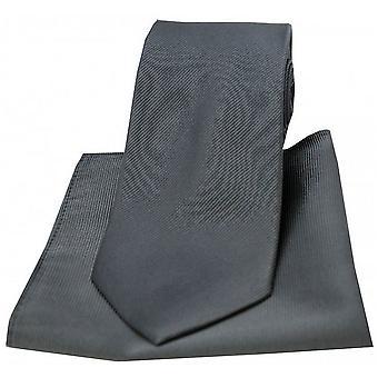 David Van Hagen diagonale Twill vevd slips og Pocket Square Set - kull