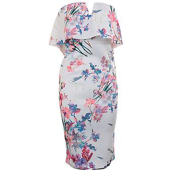 Ladies Floral V Neck Off Shoulder Bardot Frill Ruffle Knee Length Bodycon Dress