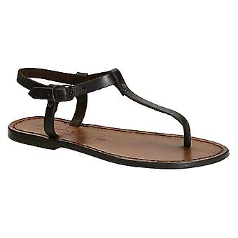 Thong sandalen in donker bruin leer handgemaakt in Italië