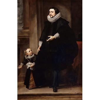 Portrait d ' un homme de qualite et d ' un, Anthony Van Dyck, 60x40cm