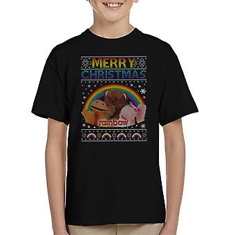 Rainbow Merry Christmas Knit Pattern Kid's T-Shirt