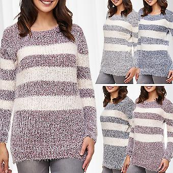 Women's Knit Pullover Sweat Shirt Sweater Longsleeve Cozy Winter Stripes Pattern