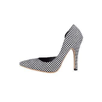 LMS Black & White Gingham Pointed Court Shoe With High Heel