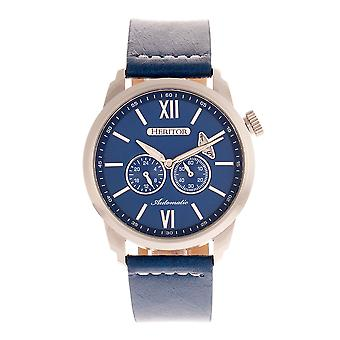 Heritor Automatic Wellington Leather-Band Watch - Silver/Blue