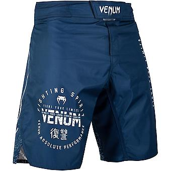 Venum Signature MMA Fight Shorts - Navy Blue/White