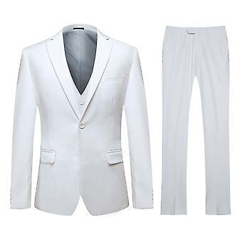 Allthemen Men's One-Button Double Split Suit 3-Piece Suit