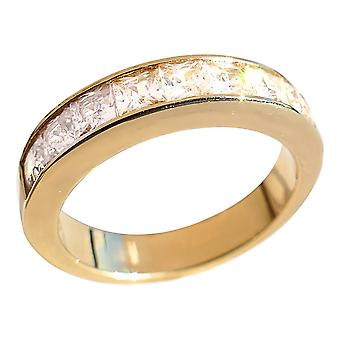 Gold Over Steel Half Eternity Band Finished With Square Cut Simulated Diamonds