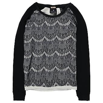 Maison Scotch Long Sleeve Sweater With Lace,Black