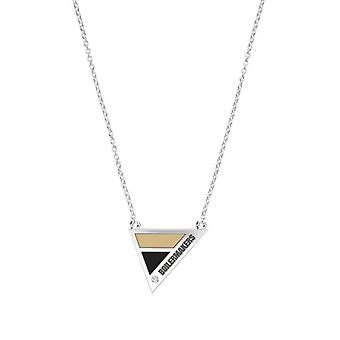 Purdue University Engraved Sterling Silver Diamond Geometric Necklace In Tan & Black