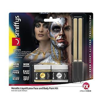 Smiffy's Liquid Latex Face And Body Paint Kit - Metallic