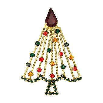 Eternal Collection Deck The Halls Jewel Tone Crystal Christmas Tree Gold Tone Brooch