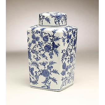 AA Importing 59950 12 Inch Square Blue & White Jar