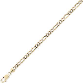 Jewelco Londres 9ct oro amarillo 3+1 Fígaro con collar de cadena colgante de eslabones de rodio - calibre 3.5mm