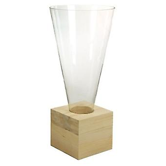 Wellindal Glass vase wood (Decoration , Jars)