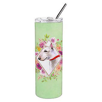 Bull Terrier groene bloemen dubbelwandig RVS 20 oz mager tuimelaar