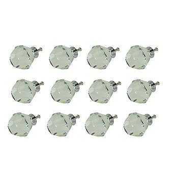 Clear Cut 40mm Crystal Cabinet Knob or Drawer Pulls Lead Free Set of 12