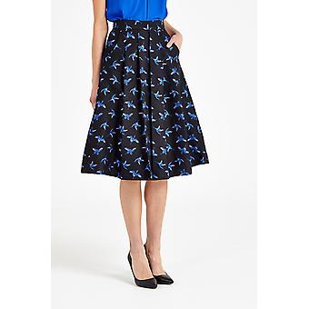 Louche Pasadena Jacquard Bird Print Pleated Skirt Blue