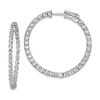 925 Sterling Silver Polished Prong set Safety clasp Rhodium Plated With CZ Cubic Zirconia Simulated Diamond Hinged Hoop