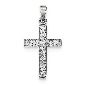 925 Prata Esterlina Polida de volta Rhodium Banhado Stellux Crystal Fé Religiosa Colar De Pingente Colar Joias