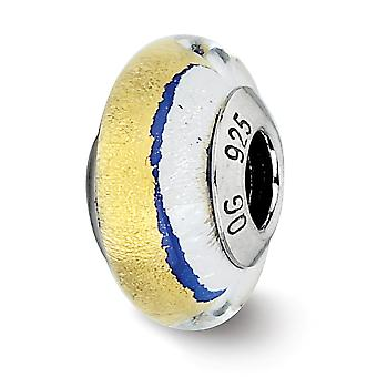 925 Sterling Silver Polished Italian Murano Glass Reflections Blue Gold Silver Italian Murano Bead Charm Pendant Necklac