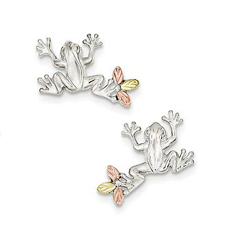 925 Sterling Silver Gift Boxed Polished and satin and 12k Frog Post Earrings Jewelry Gifts for Women