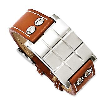 Stainless Steel Polished Engravable (front only) Brown Leather Adjustable Buckle Bracelet Jewelry Gifts for Women