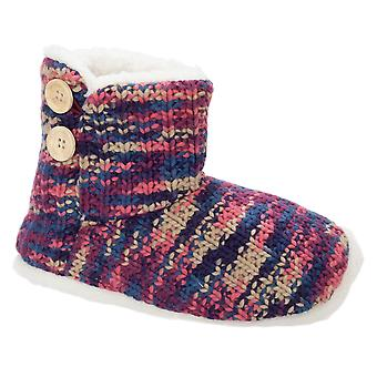 Slumberzzz Womens/Ladies Mixed Knit Button Trim Boot Slippers