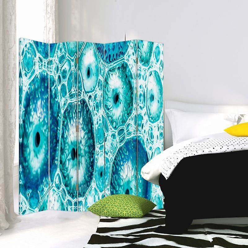Diviseur de chambre, 5 panneaux, toile, modèle bleu