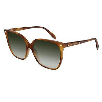 Alexander McQueen Am0188s 003 59 Edge Light Havana And Green Square Ladies Sunglasses