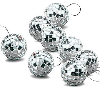 8 Pack 4,5 cm sølv Disco Mirror ball juletre bauble ornament dekorasjon