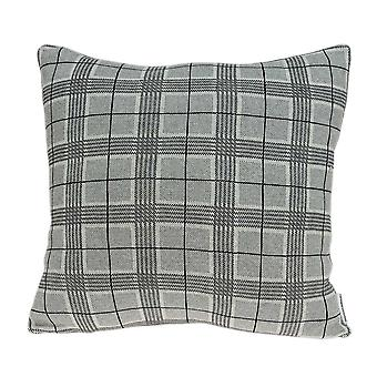 Gray Small Square Plaid Pillow Cover