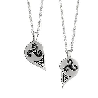 Celtic Best Friend Love Heart Ancient Triskele Necklace Pendants - Includes 16
