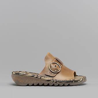 Fly London Tani807fly Ladies Leather Mule Sandals Camel