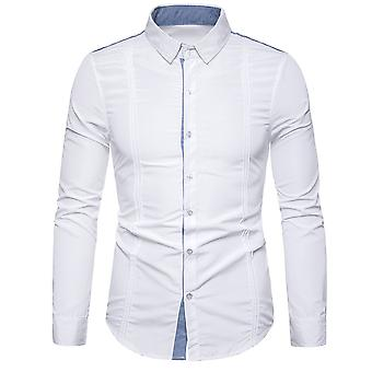 Allthemen Men's Solid Lapel Pleated Long Sleeve Shirt