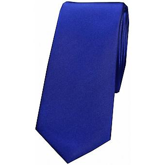 David Van Hagen Satin Silk Thin Tie - Royal Blue