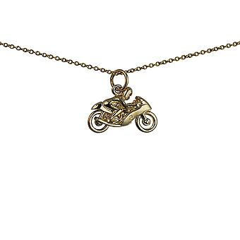 9ct Gold 20x14mm Motorbike and Rider Pendant with a 1.1mm wide cable Chain 20 inches