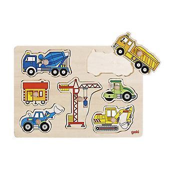 Goki Houten Steekpuzzel - Bouwwerfvoertuigen