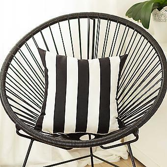 "18""x18"" Black Stripes Geometric Decorative Throw Pillow Cover"