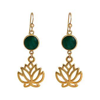 Gemshine örhängen lotusblommor smaragd örhängen i silver, guldpläterade eller ros