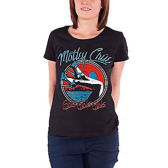 Motley Crue T Shirt Heels V 3 Band Logo  new Official Womens Skinny Fit Black